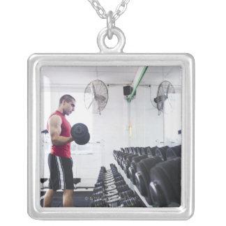 Dumbbells 2 square pendant necklace