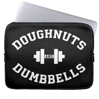 Dumbbells And Doughnuts - Funny Gym Workout Laptop Sleeves