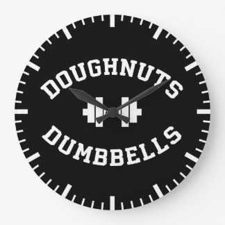 Dumbbells And Doughnuts - Funny Gym Workout Large Clock