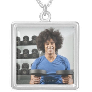 Dumbbells Silver Plated Necklace