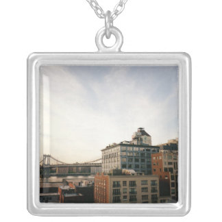 Dumbo Brooklyn Skyline Square Pendant Necklace
