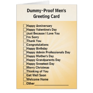Dummy-Proof Men's Greeting Card