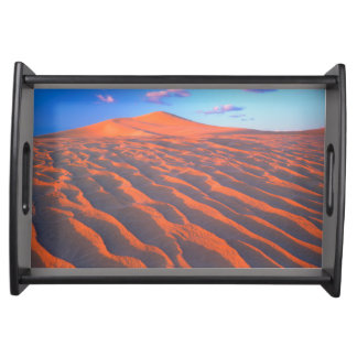 Dumont Dunes, Sand Dunes and Clouds Serving Tray