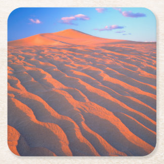 Dumont Dunes, Sand Dunes and Clouds Square Paper Coaster