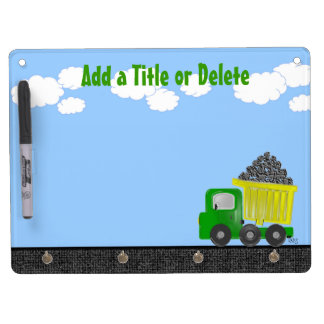 Dump Truck 3D (yellow) Dry Erase Board With Key Ring Holder