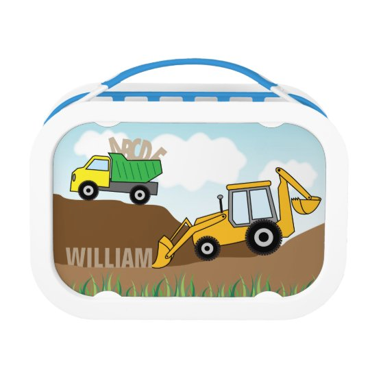 Dump Truck and Backhoe with Loader Personalised Lunch