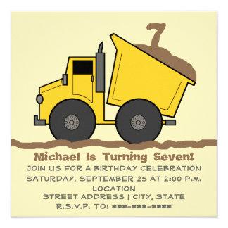 Dump Truck Birthday Invitation