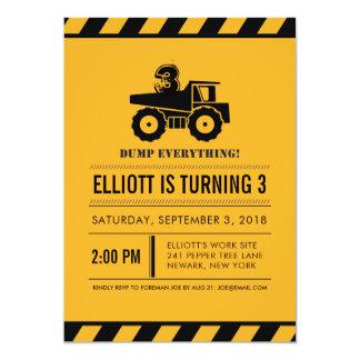 Dump Truck Birthday Party Invites