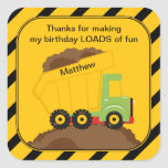 Dump Truck Birthday Thank You Square Stickers