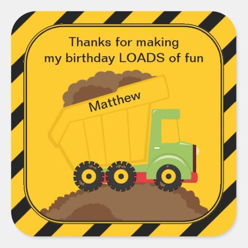 Dump Truck Birthday Thank You Sticker