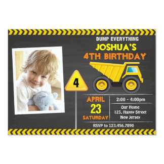 Dump Truck Construction Birthday invitation