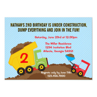 Dump Truck Construction Boy Birthday Party Card