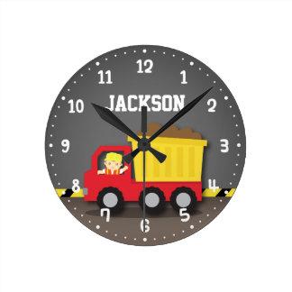 Dump Truck Construction Builder Boys Room Decor Round Clock