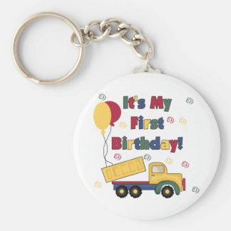 Dump Truck First Birthday  Tshirts and Gifts Basic Round Button Key Ring