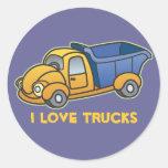 Dump Truck Kids Art Round Stickers