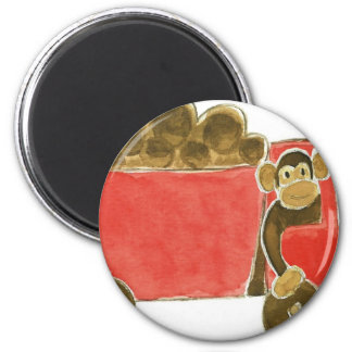 Dump Truck Monkey 6 Cm Round Magnet