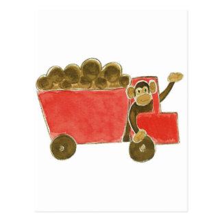 Dump Truck Monkey Postcard