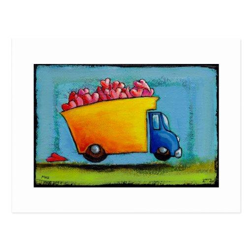 Dump Truck of Love unique fun happy whimsical art Post Card