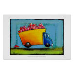 Dump Truck of Love unique fun happy whimsical art Poster