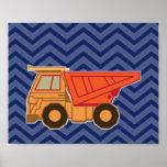 Dump Truck on zigzag chevron - Blue