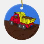 Dump Truck Red and Yellow Cartoon Art Christmas Tree Ornament