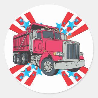 Dump Truck Stars Round Sticker