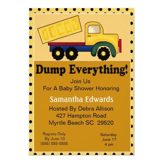Dump Truck Theme Baby Shower Invitation
