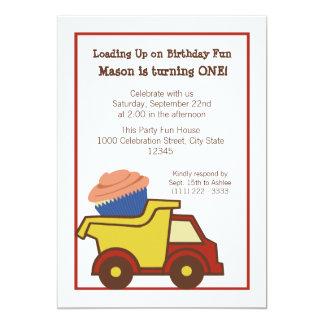 Dump Truck with Cupcake Red 13 Cm X 18 Cm Invitation Card