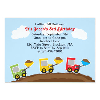 Dump Trucks Construction Birthday Flat Invitation