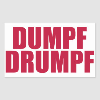 DUMPF DRUMPF (Red on White) Rectangular Sticker