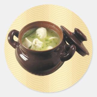 Dumpling Soup Round Sticker