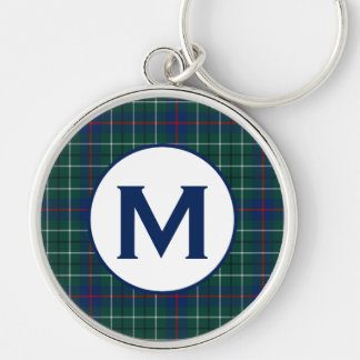 Duncan Family Tartan Green and Blue Plaid Monogram Key Ring