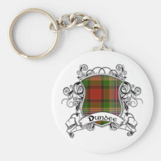 Dundee Tartan Shield Basic Round Button Key Ring