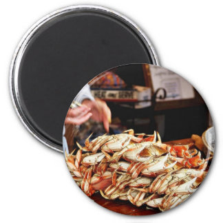 Dungeness Crab At Fishermans Wharf In San Francisc 6 Cm Round Magnet