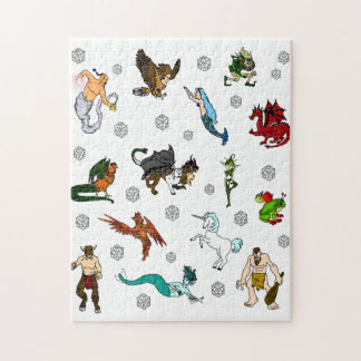 Dungeon and Dragons Dice and Creatures Jigsaw Puzzle