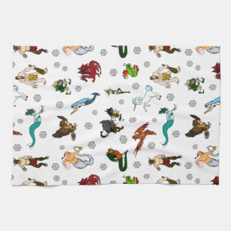 Dungeon and Dragons Magical Creatures Tea Towel