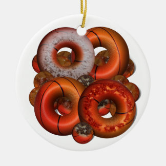 Dunking Donuts for Basketball FanS Double-Sided Ceramic Round Christmas Ornament