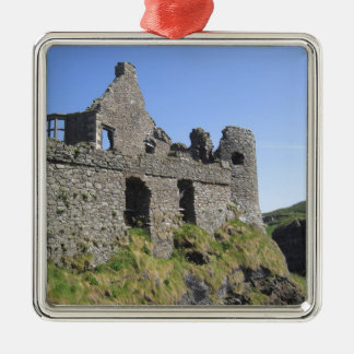 Dunluce Castle near Bushmills and Portrush, 3 Silver-Colored Square Decoration