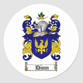DUNN FAMILY CREST -  DUNN COAT OF ARMS ROUND STICKER