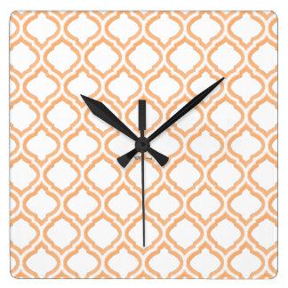 Duo-tone Moroccan Trellis (Orange) (Monogram) Clocks