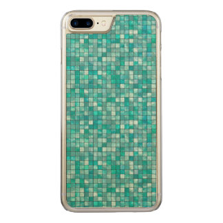 Duo-tone Teal Geometric Tile  Pattern Carved iPhone 8 Plus/7 Plus Case