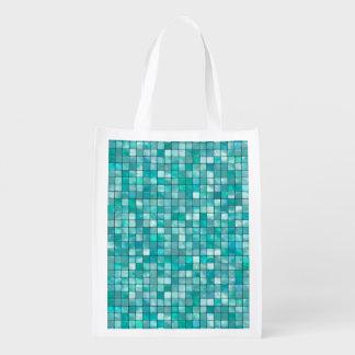 Duo-tone Teal Geometric Tile  Pattern Reusable Grocery Bag
