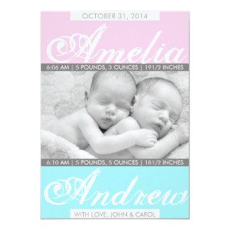 Duo Tones, Twin Birth Announcement