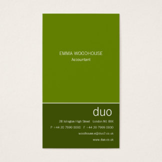 Duo Vertical May Green Business Card