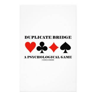 Duplicate Bridge A Psychological Game Custom Stationery