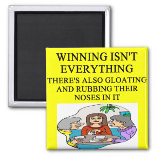 duplicate bridge and game players joke square magnet