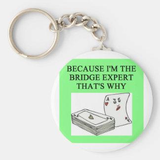 duplicate bridge expert joke basic round button key ring
