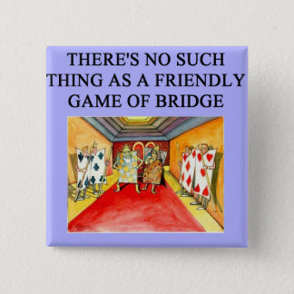 duplicate bridge game player 15 cm square badge