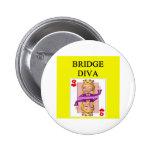 duplicate bridge game player 6 cm round badge