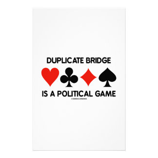 Duplicate Bridge Is A Political Game Card Suits Stationery Design
